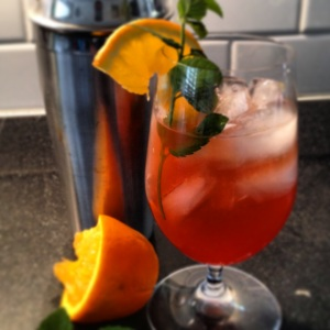 Bourbon-Campari Sassy Orange Julep
