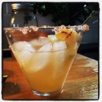 Grilled Pineapple-Jalepeno Margarita with Hawaiian Alaea sea salt rim.