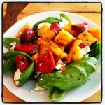 Fresh basil and goat cheese salad with heirloom tomatoes
