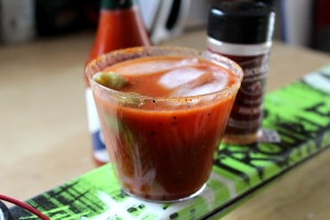 Cajun Smoky Bacon Bloody Mary. Great slope-side or during your next ski tuning session.