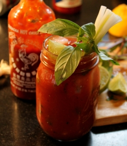 Sriracha Bloody Mary with Lime, Thai Basil, and Scallions