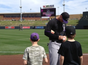 The Colorado Rockies players were super-friendly with the kids and signed a ton of pre-game autographs. Thanks, guys!