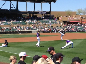Rockies pre-game warm up. Their athleticism is inspiring. Very. Inspiring.