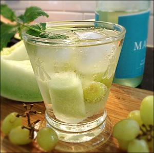 White Wine Sangria with Melon  Mint