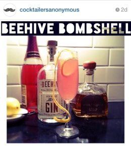 The Beehive Bombshell, as featured over on the Cocktailers Anonymous feed.