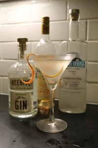 Not a Utah pour: full sized Vesper with 3 oz gin, 1 oz vodka, 1/2 oz Lillet, stirred with grapefruit zest garnish.