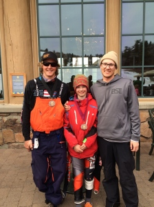 My son (in the middle) with his racing coaches at Snowbasin this year.