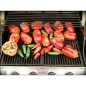 Peppers on the grill getting all charred up.