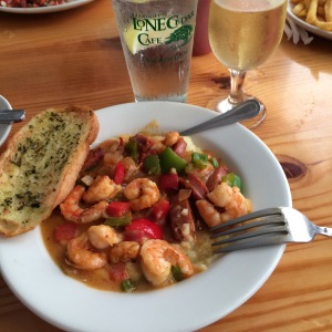 Shrimp and Grits with andouille at Basnight's Lone Cedar Cafe in Nags Head, NC.
