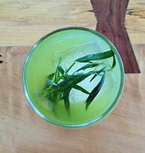 Green Envy Gin, Ransom dry vermouth, celery bitters, zucchini juice, tarragon, and a bigass ice cube